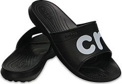 Crocs Černé pantofle Classic Graphic Slide Black/White 204465-066 42-43